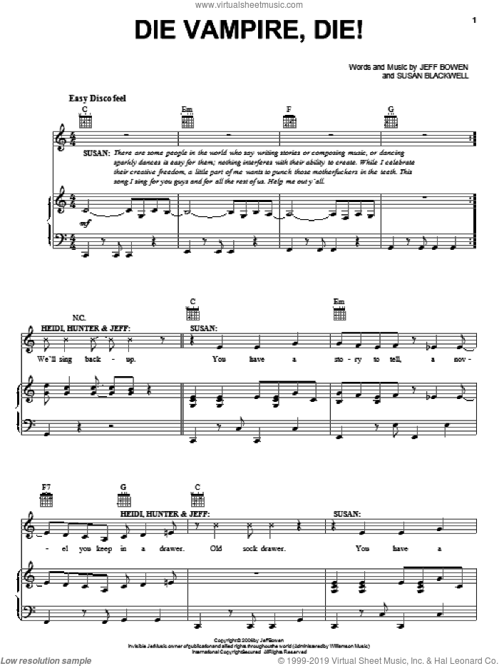 Die Vampire, Die! sheet music for voice, piano or guitar by Susan Blackwell and Jeff Bowen. Score Image Preview.