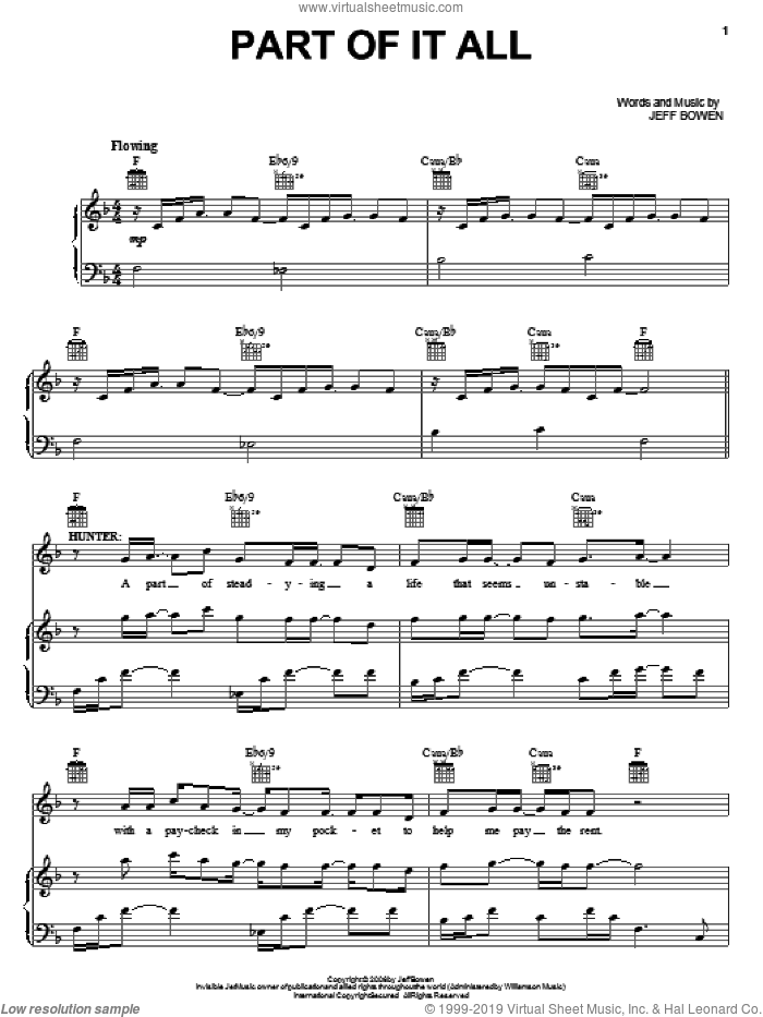 Part Of It All sheet music for voice, piano or guitar by Jeff Bowen, title of show (Musical) and [title of show] (Musical), intermediate skill level