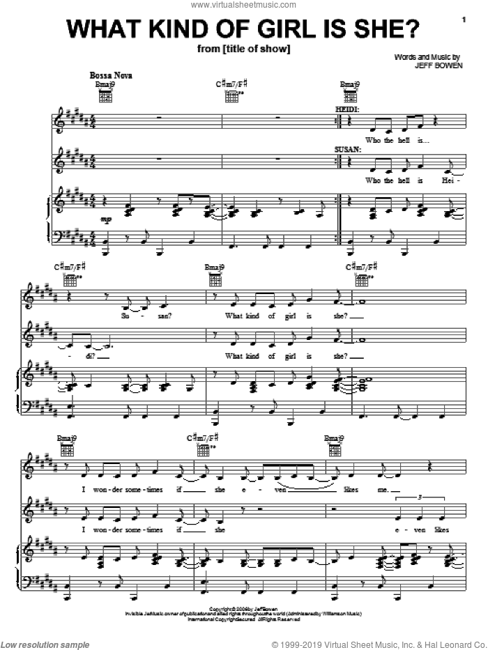 What Kind Of Girl Is She? sheet music for voice, piano or guitar by Jeff Bowen, title of show (Musical) and [title of show] (Musical), intermediate skill level