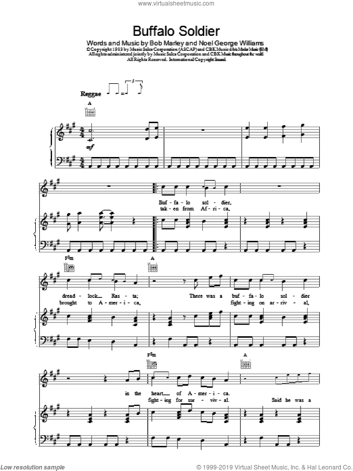 Buffalo Soldier sheet music for voice, piano or guitar by Bob Marley, intermediate. Score Image Preview.