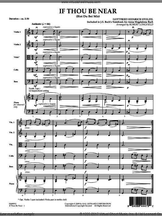 If Thou Be Near (Bist Du bei Mir) (COMPLETE) sheet music for orchestra by Gottfried Heinrich Stolzel