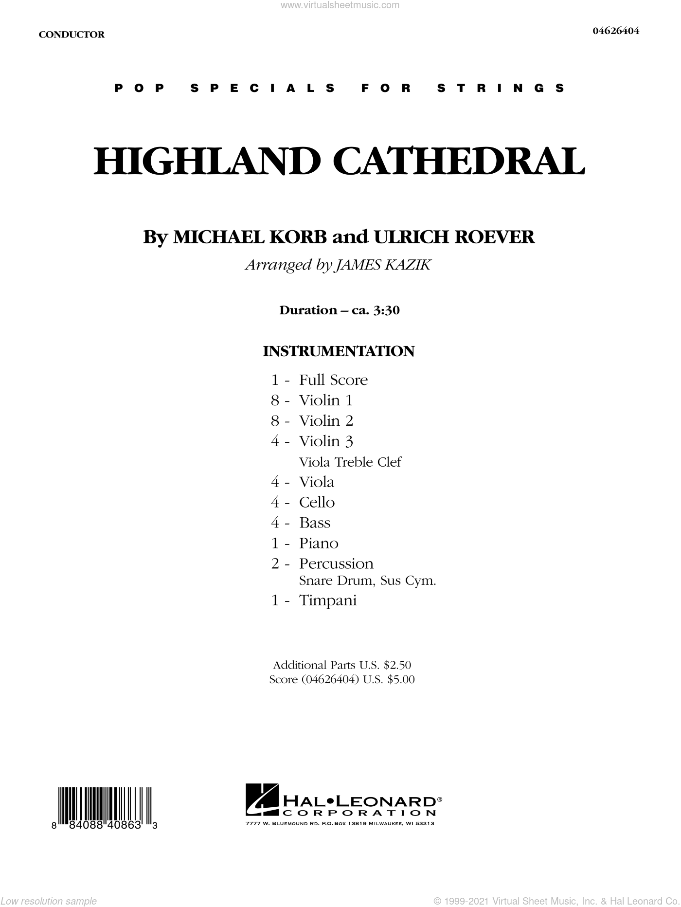 Highland Cathedral sheet music for orchestra (full score) by Michael Korb