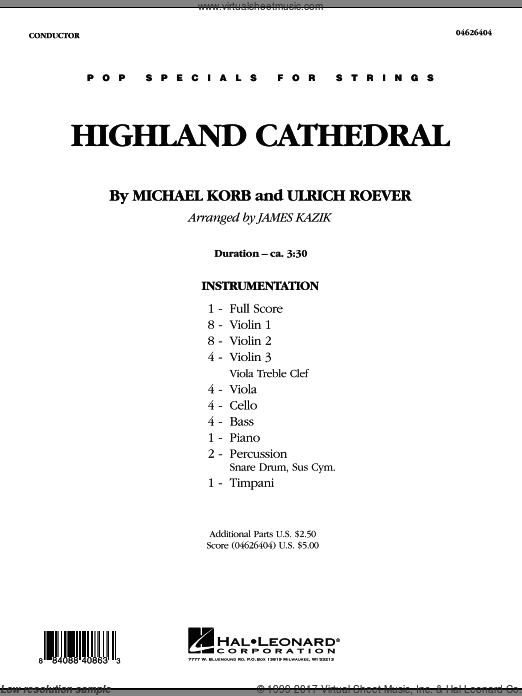 Highland Cathedral (COMPLETE) sheet music for orchestra by Michael Korb