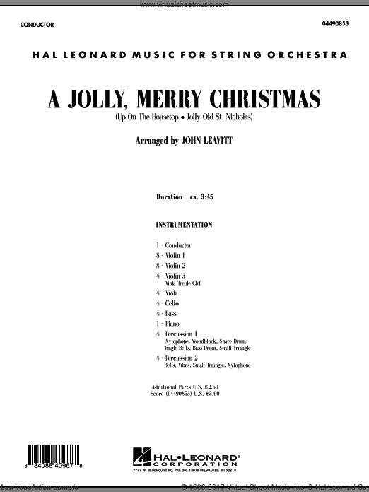A Jolly, Merry Christmas (COMPLETE) sheet music for orchestra by John Leavitt