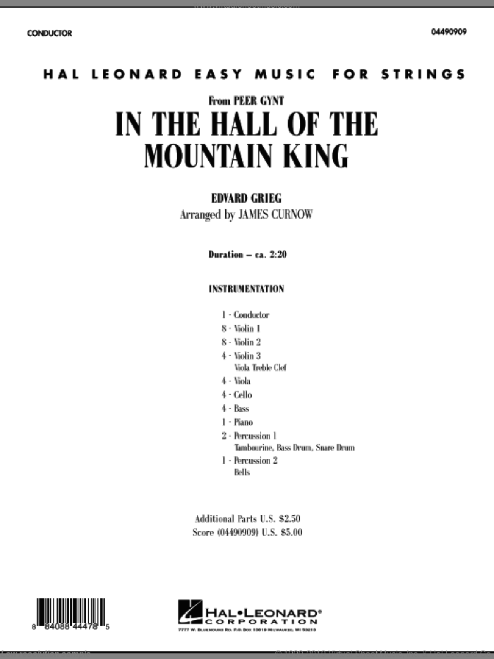 In the Hall of the Mountain King (COMPLETE) sheet music for orchestra by Edward Grieg and James Curnow, classical score, intermediate