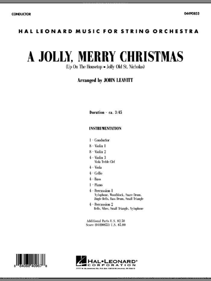 A Jolly, Merry Christmas (COMPLETE) sheet music for orchestra by John Leavitt, intermediate skill level