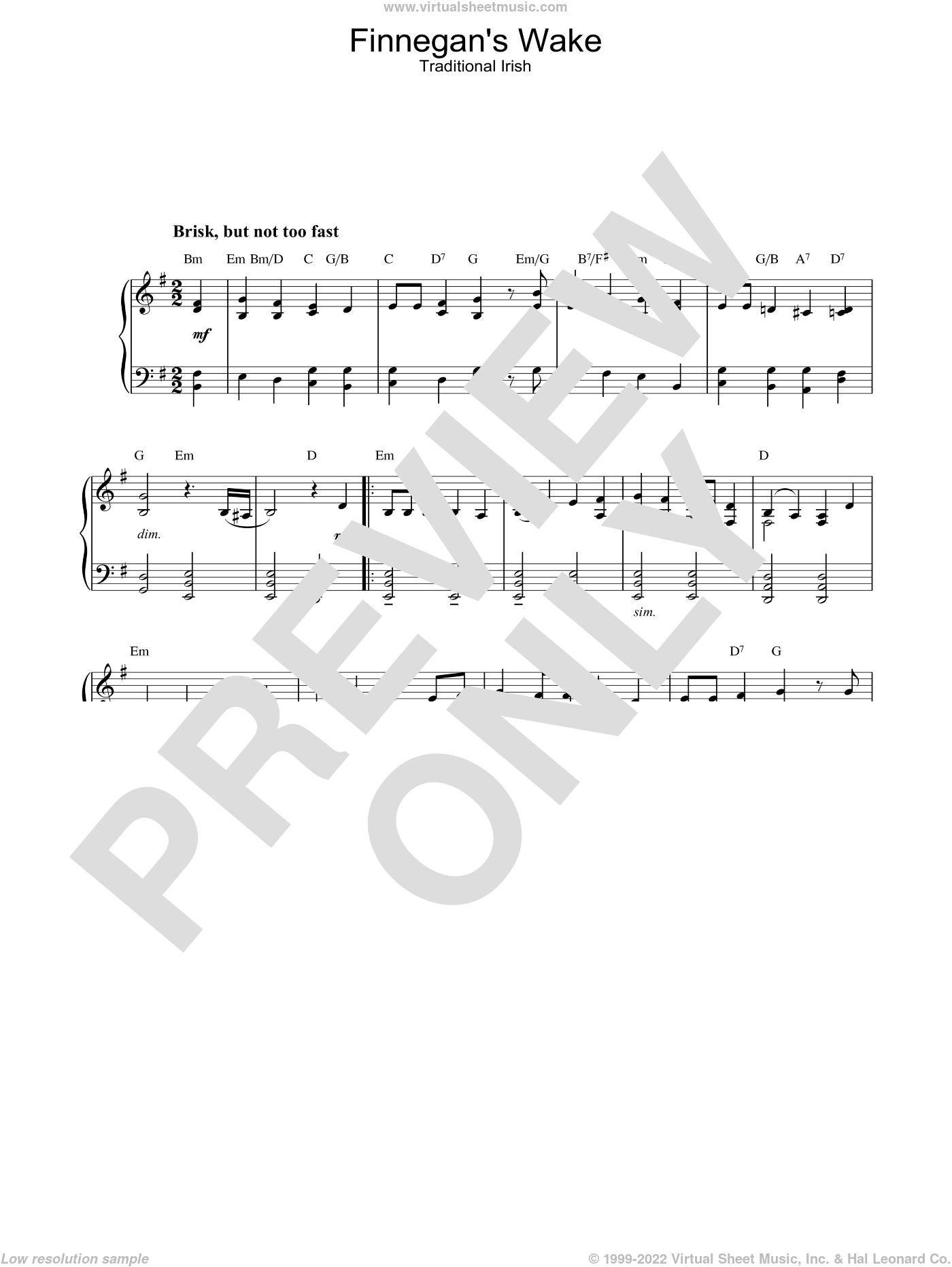 Finnegan's Wake sheet music for piano solo