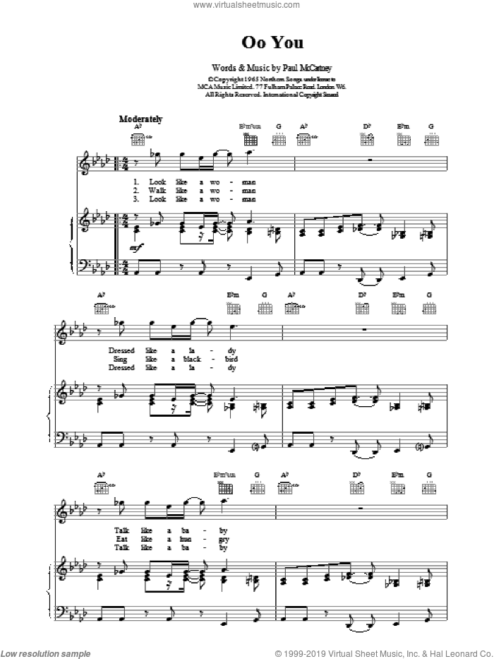 Oo You sheet music for voice, piano or guitar by Paul McCartney and The Beatles, intermediate skill level