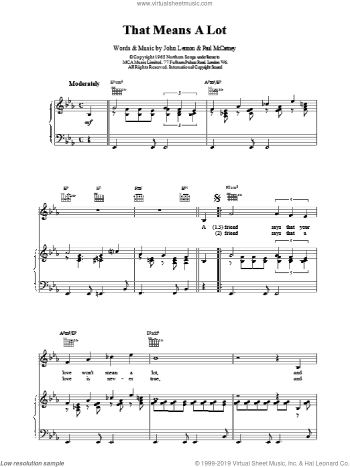 That Means A Lot sheet music for voice, piano or guitar by The Beatles. Score Image Preview.