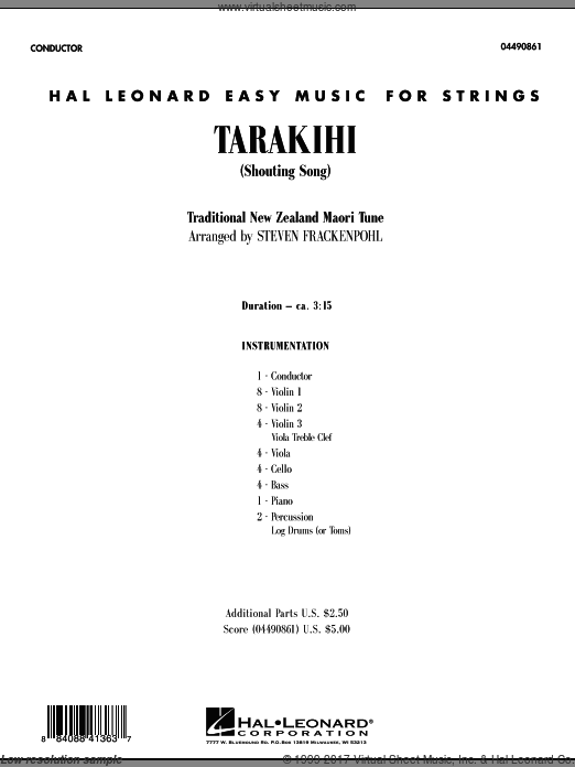 Tarakihi (Shouting Song) (COMPLETE) sheet music for orchestra