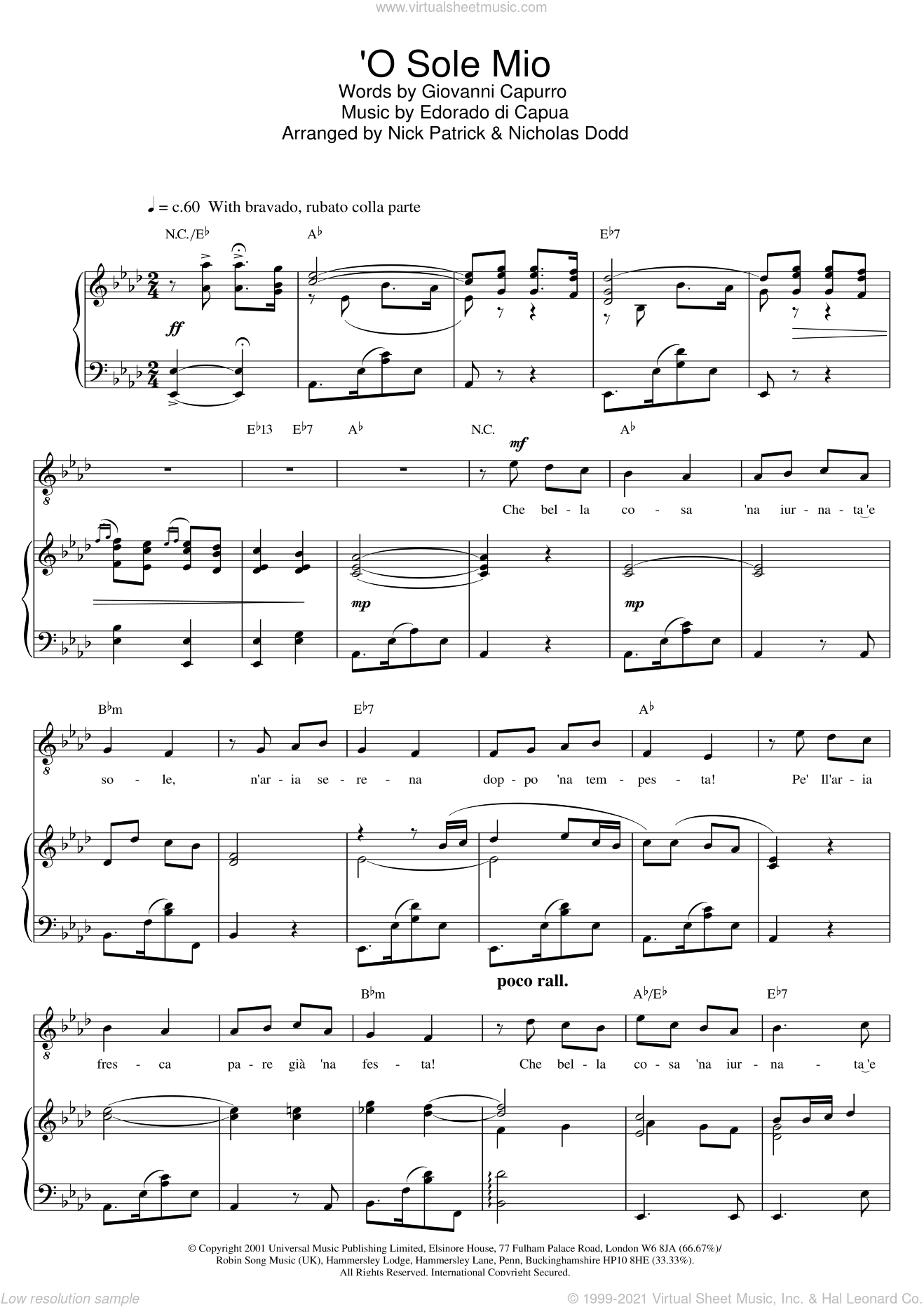 O Sole Mio sheet music for voice, piano or guitar by Russell Watson and Giovanni Capurro, classical score, intermediate skill level