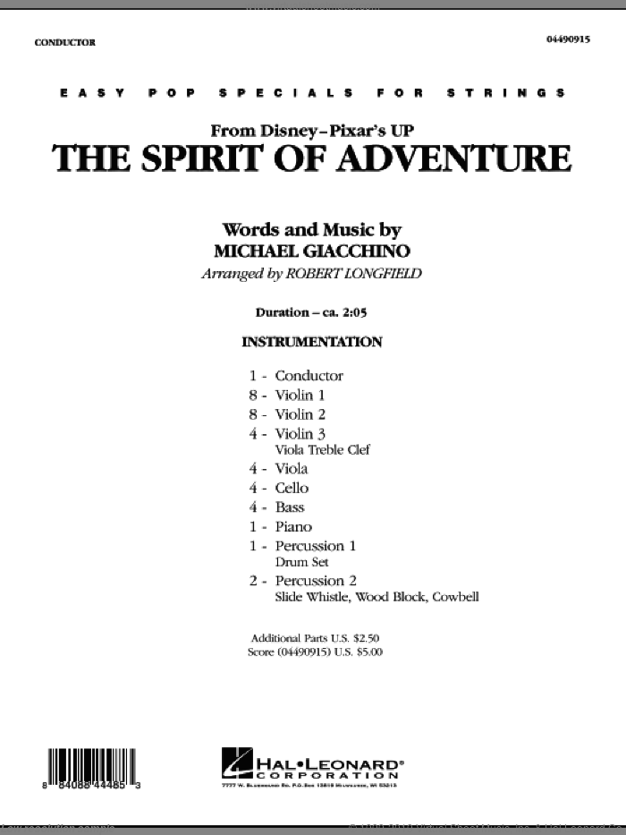The Spirit Of Adventure (from Up) (COMPLETE) sheet music for orchestra by Michael Giacchino and Robert Longfield, intermediate. Score Image Preview.