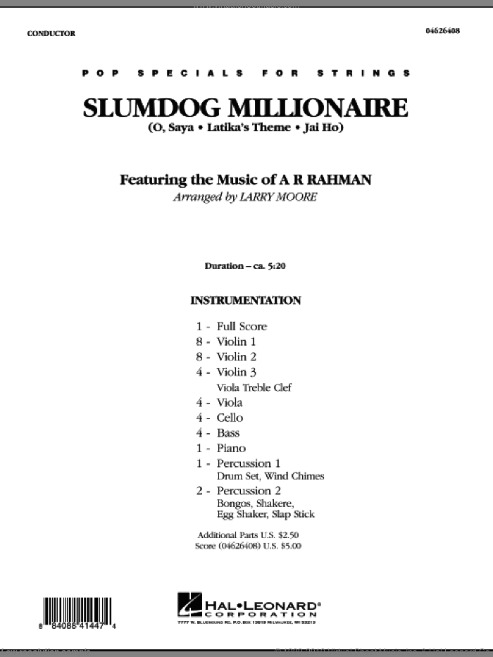 Slumdog Millionaire (COMPLETE) sheet music for orchestra by A.R. Rahman and Larry Moore, intermediate. Score Image Preview.