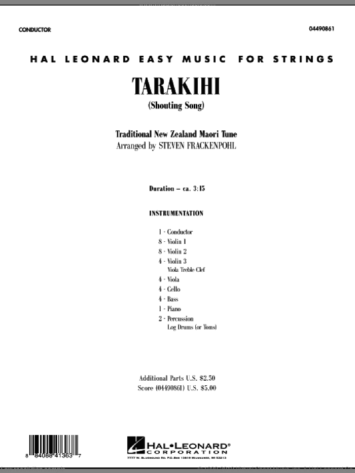 Tarakihi (Shouting Song) (COMPLETE) sheet music for orchestra by Steve Frackenpohl and Miscellaneous, intermediate orchestra. Score Image Preview.