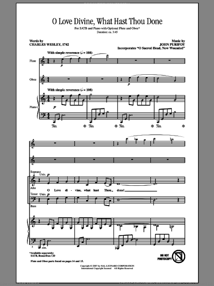 O Love Divine, What Hast Thou Done sheet music for choir (SATB) by Charles Wesley and John Purifoy. Score Image Preview.