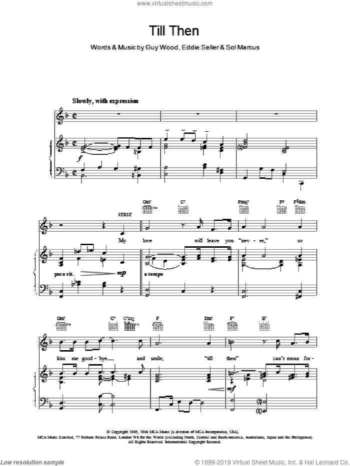 Till Then sheet music for voice, piano or guitar by The Classics. Score Image Preview.
