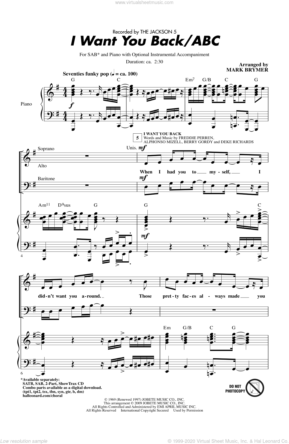 I Want You Back / ABC sheet music for choir (SAB) by Berry Gordy, Mark Brymer and The Jackson 5. Score Image Preview.