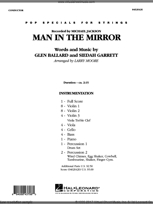 Man in the Mirror (COMPLETE) sheet music for orchestra by Glen Ballard