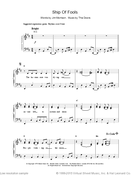 Ship Of Fools sheet music for voice, piano or guitar by The Doors