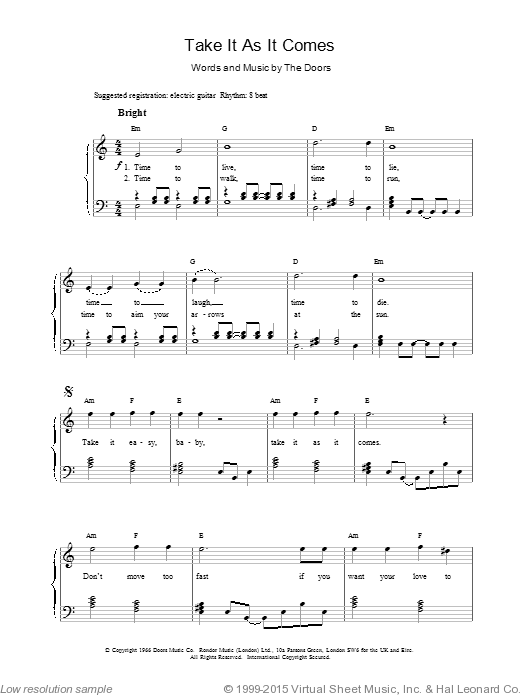 Take It As It Comes sheet music for voice, piano or guitar by The Doors