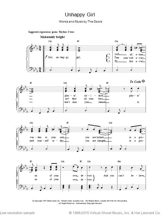 Unhappy Girl sheet music for voice, piano or guitar by The Doors