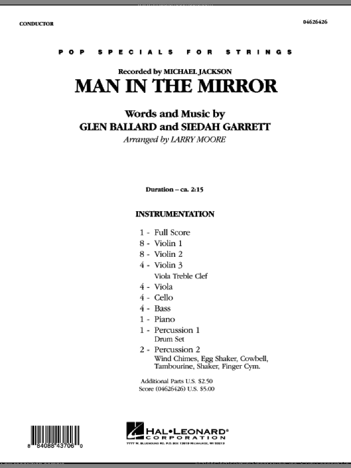 Man in the Mirror (COMPLETE) sheet music for orchestra by Glen Ballard, Siedah Garrett, Larry Moore and Michael Jackson, intermediate orchestra. Score Image Preview.