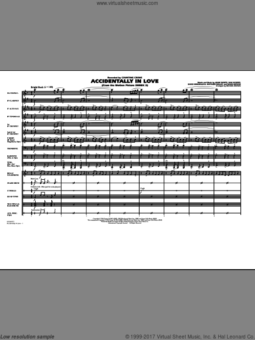 Accidentally In Love (COMPLETE) sheet music for marching band by Adam Duritz