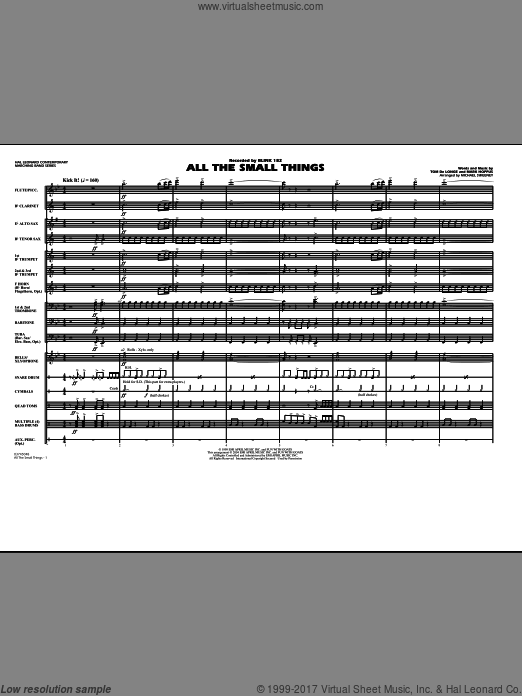 All The Small Things (COMPLETE) sheet music for marching band by Mark Hoppus