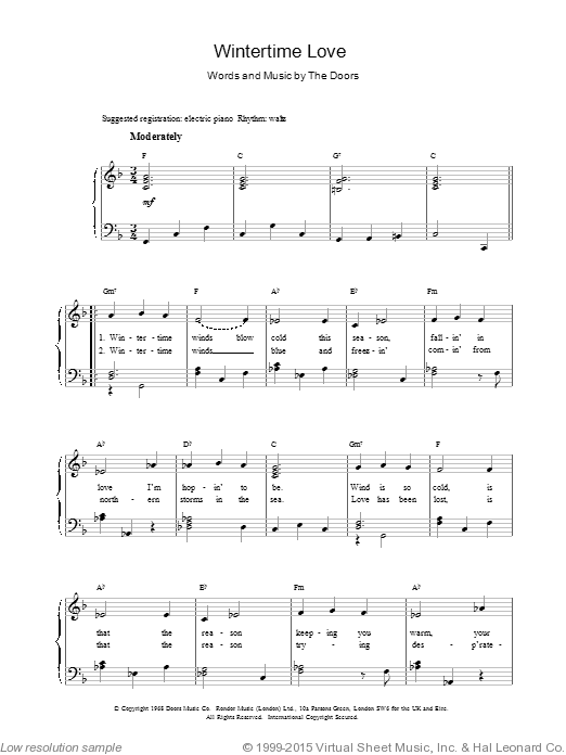 Wintertime Love sheet music for voice, piano or guitar by The Doors