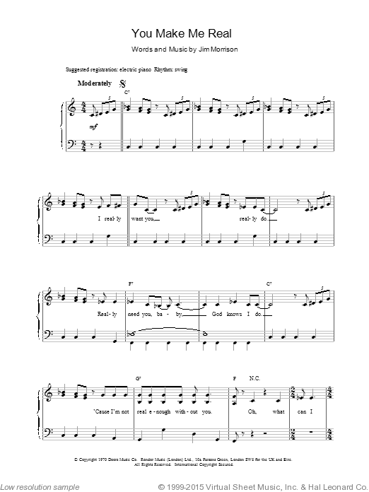 You Make Me Real sheet music for voice, piano or guitar by The Doors
