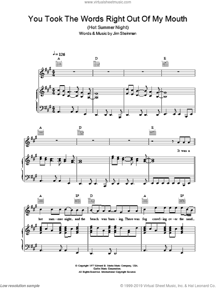 You Took The Words Right Out Of My Mouth sheet music for voice, piano or guitar by Meat Loaf and Jim Steinman, intermediate voice, piano or guitar. Score Image Preview.