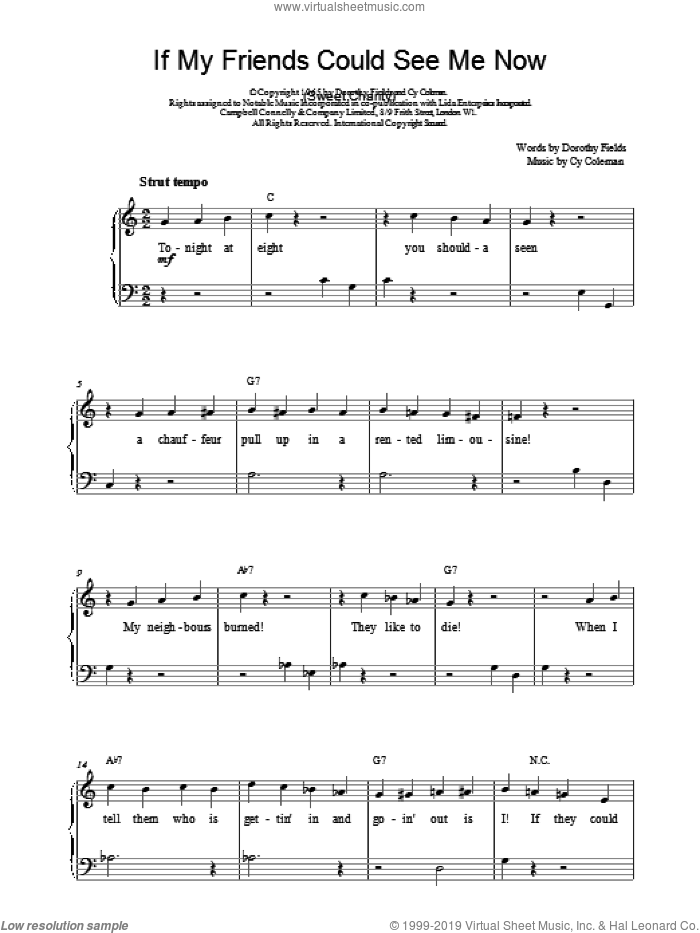 If My Friends Could See Me Now sheet music for piano solo by Cy Coleman and Dorothy Fields, easy piano. Score Image Preview.