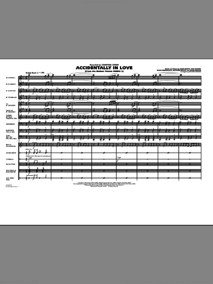 Accidentally In Love (COMPLETE) sheet music for marching band by Michael Brown and Counting Crows, intermediate. Score Image Preview.