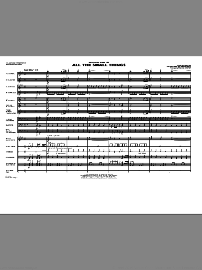 All The Small Things (COMPLETE) sheet music for marching band by Michael Sweeney and Blink-182, intermediate. Score Image Preview.