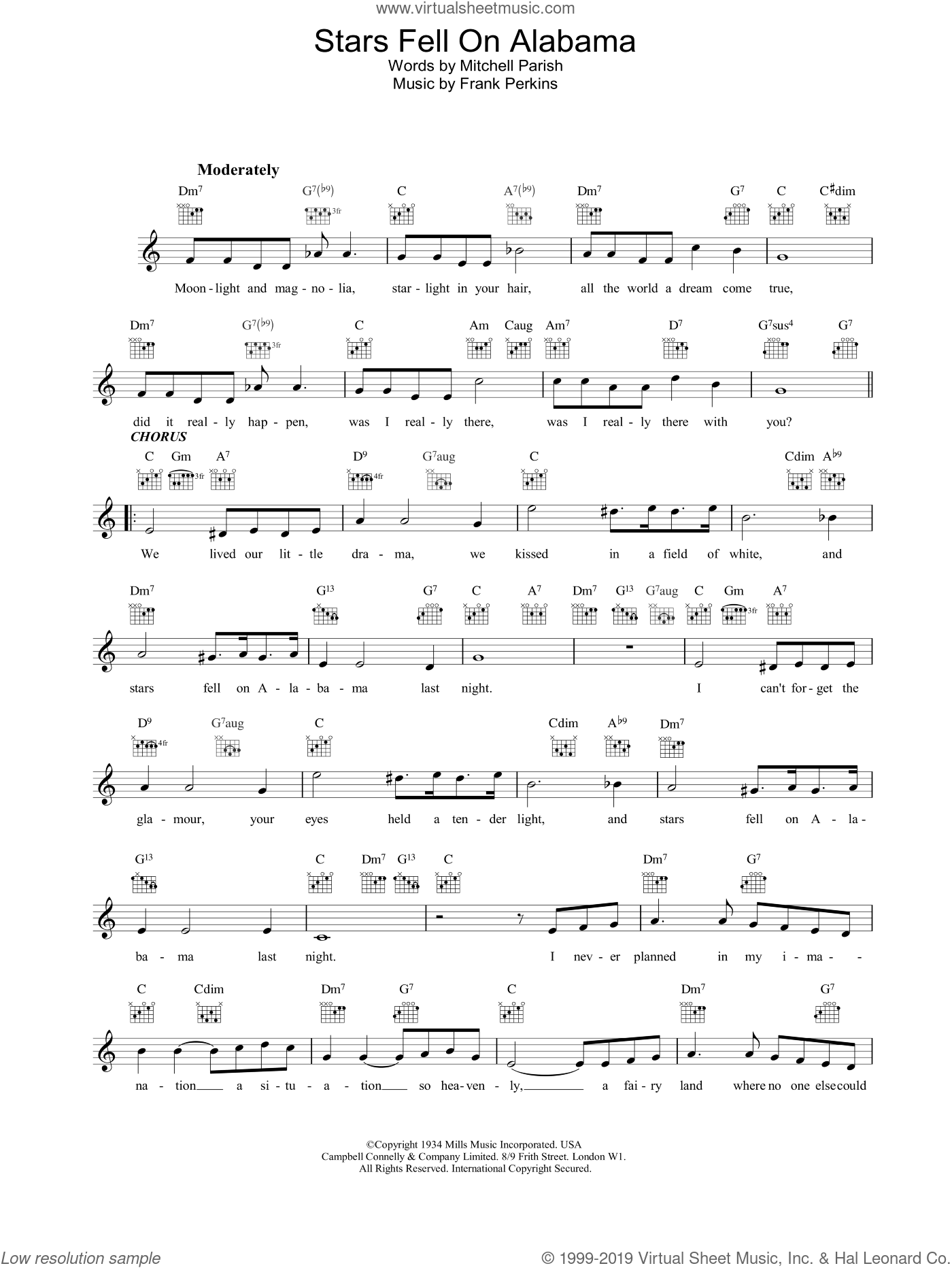 Stars Fell On Alabama sheet music for voice and other instruments (fake book) by Louis Armstrong, intermediate skill level