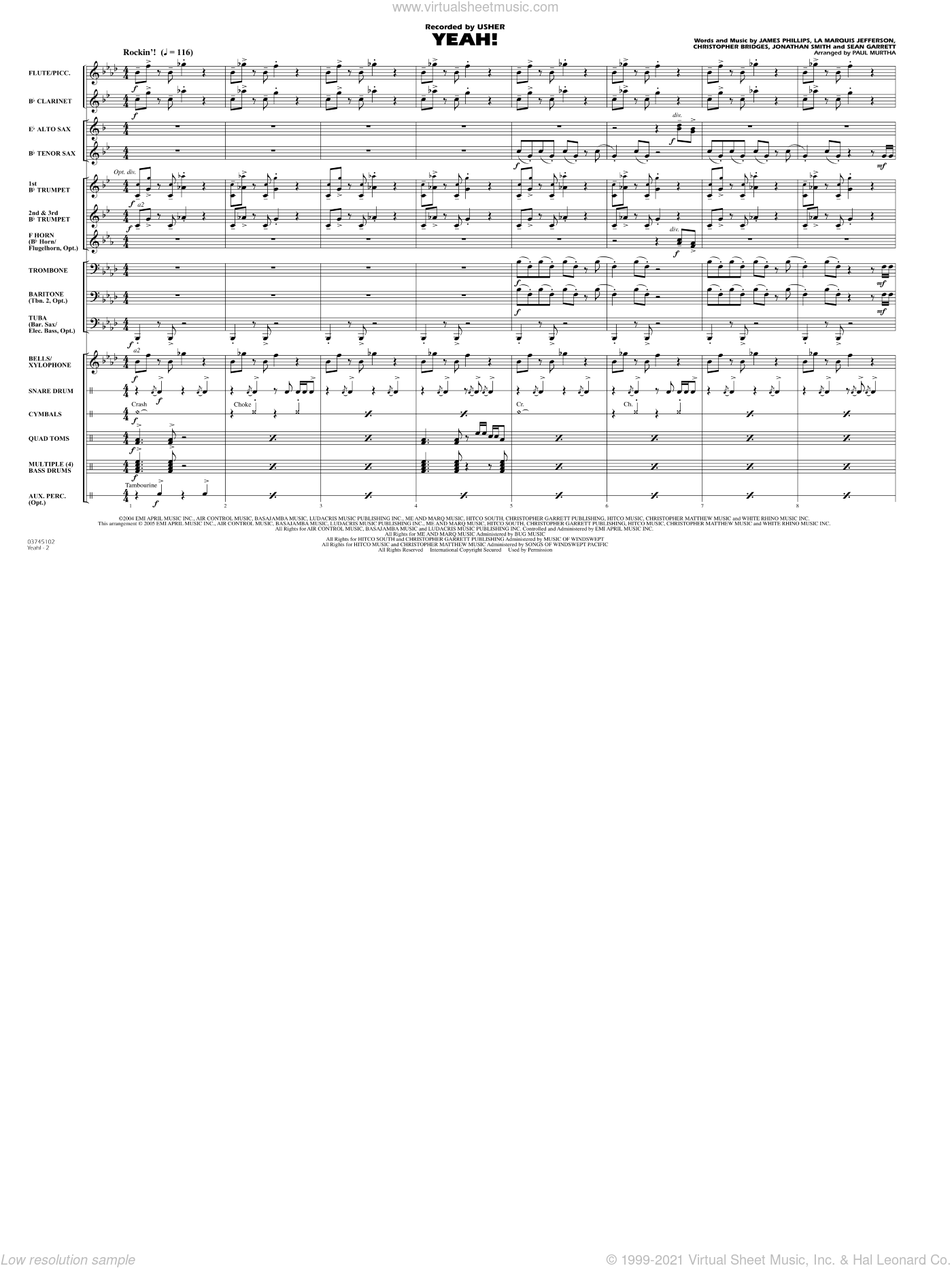 Yeah! sheet music for marching band (full score) by Christopher Bridges
