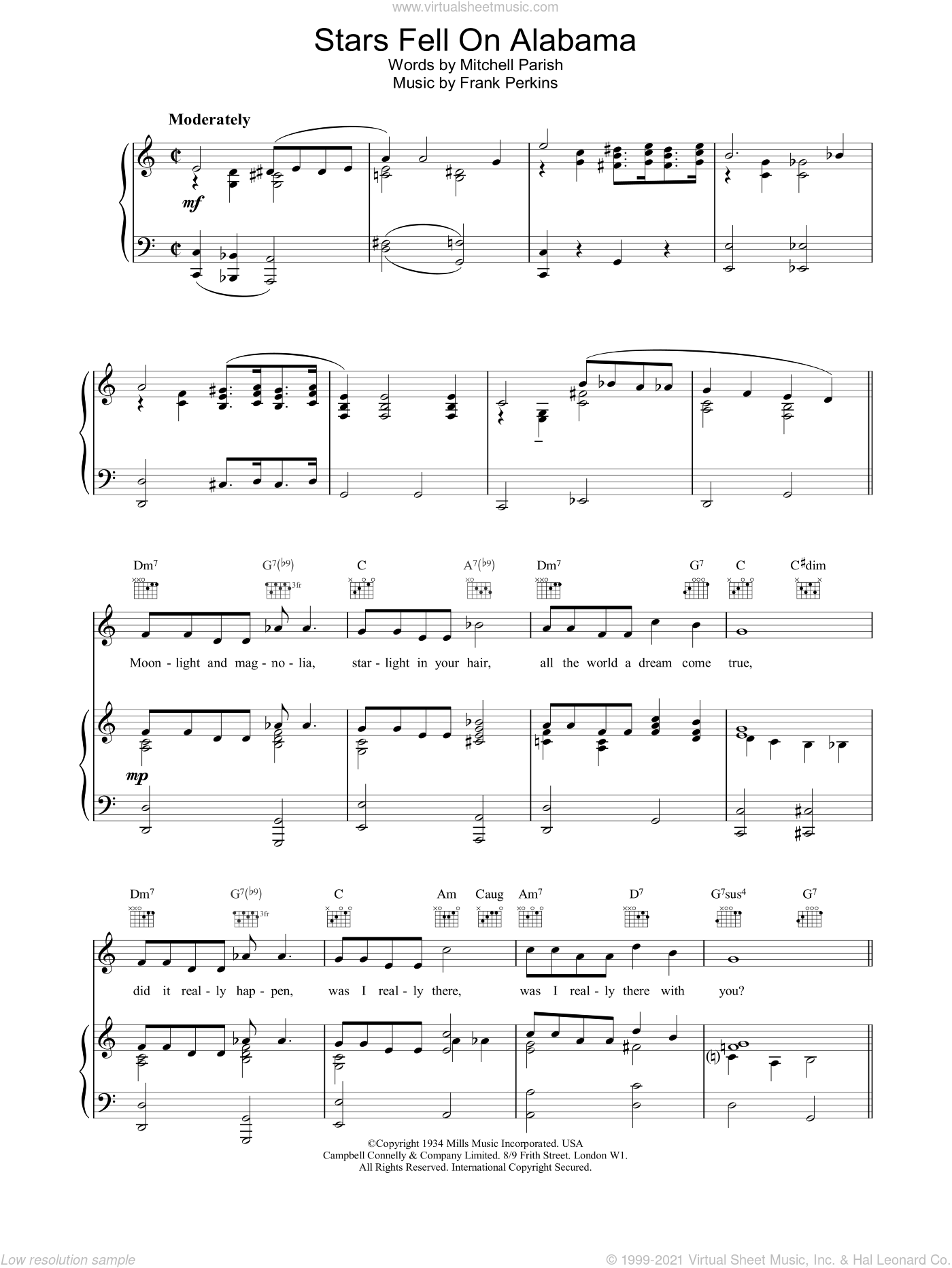 Stars Fell On Alabama sheet music for voice, piano or guitar by Louis Armstrong. Score Image Preview.