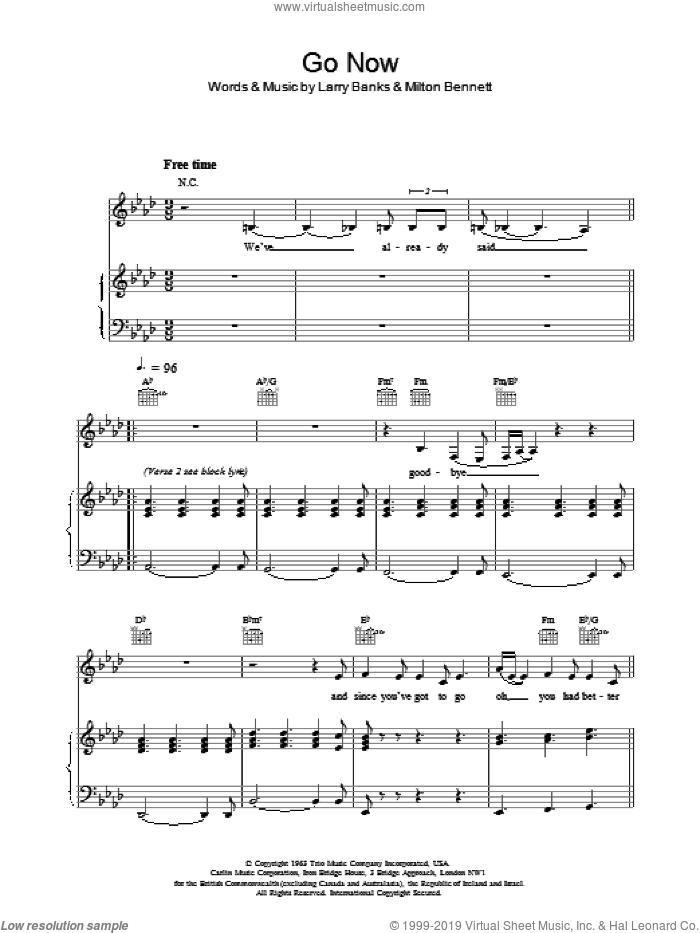 Go Now sheet music for voice, piano or guitar by Bessie Banks. Score Image Preview.