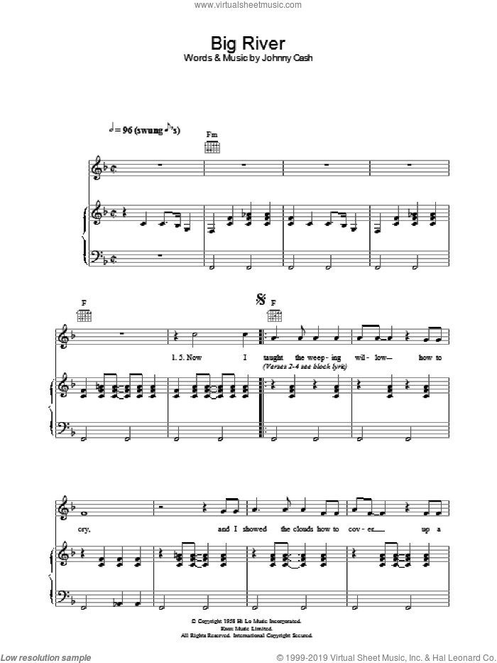 Big River sheet music for voice, piano or guitar by Johnny Cash. Score Image Preview.
