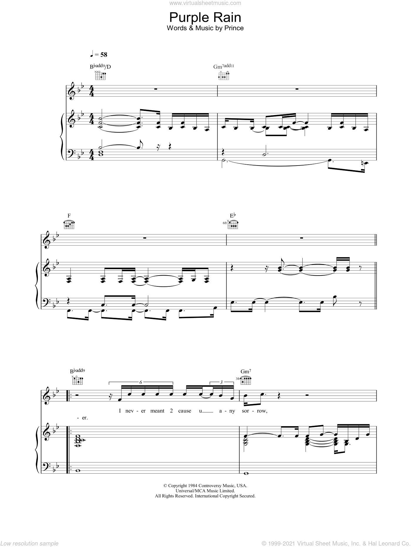 Purple Rain sheet music for voice, piano or guitar by Prince and Prince & The Revolution, intermediate skill level