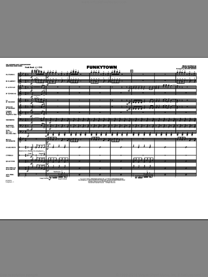 Funkytown (COMPLETE) sheet music for marching band by Michael Brown, Steven Greenberg and Lipps Inc., intermediate skill level