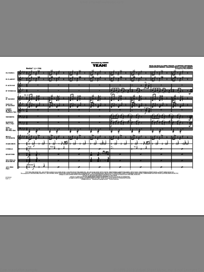 Yeah! (COMPLETE) sheet music for marching band by Jonathan Smith, Christopher Bridges, James Phillips, La Marquis Jefferson, Laurence Smith, Sean Garrett, Paul Murtha and Usher featuring Lil Jon & Ludacris, intermediate skill level