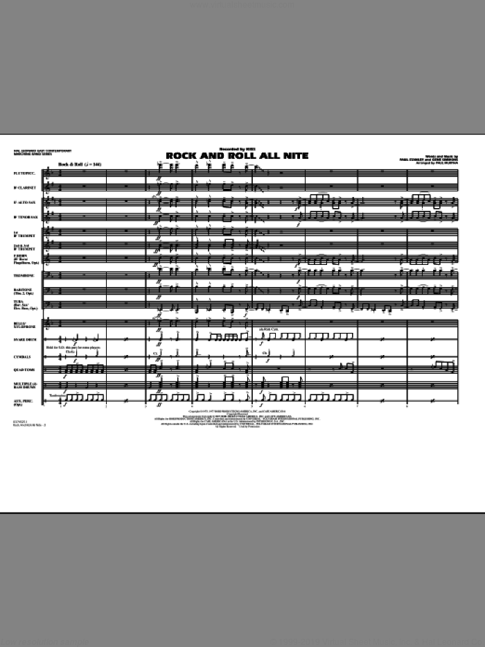 Rock And Roll All Nite (COMPLETE) sheet music for marching band by Paul Murtha, Gene Simmons, Paul Stanley and KISS, intermediate. Score Image Preview.