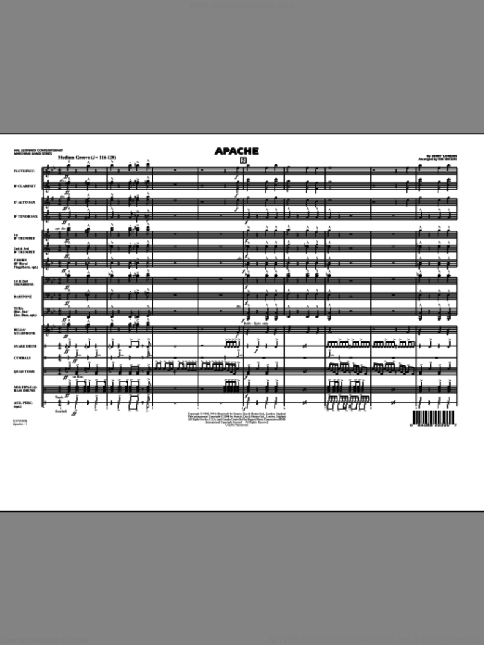 Apache (COMPLETE) sheet music for marching band by Tim Waters and Jerry Lordan, intermediate skill level