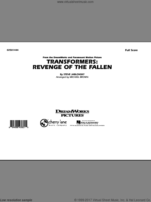 Transformers: Revenge Of The Fallen (COMPLETE) sheet music for marching band by Steve Jablonsky
