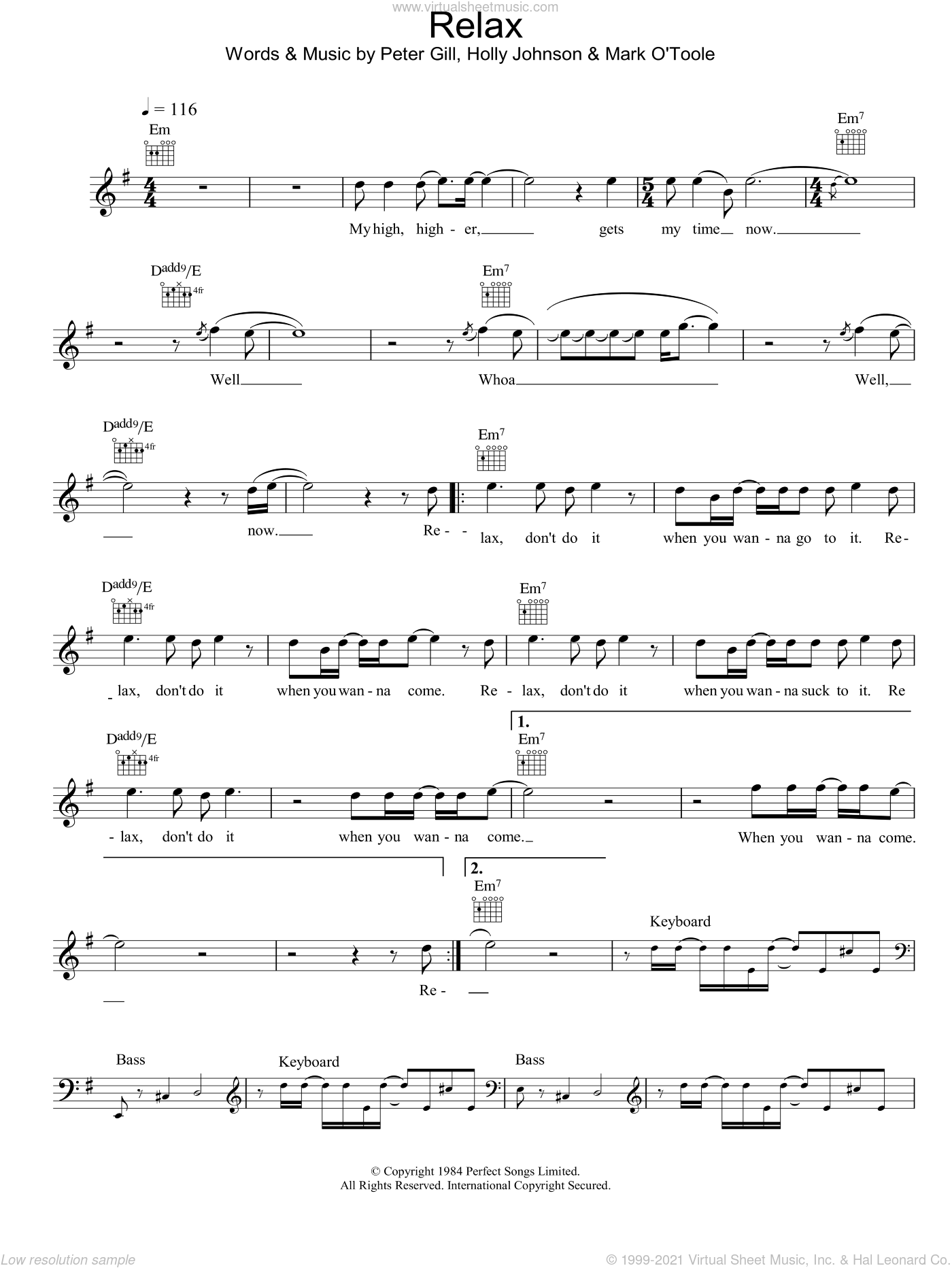 Relax sheet music for voice and other instruments (fake book) by Peter Gill, intermediate skill level