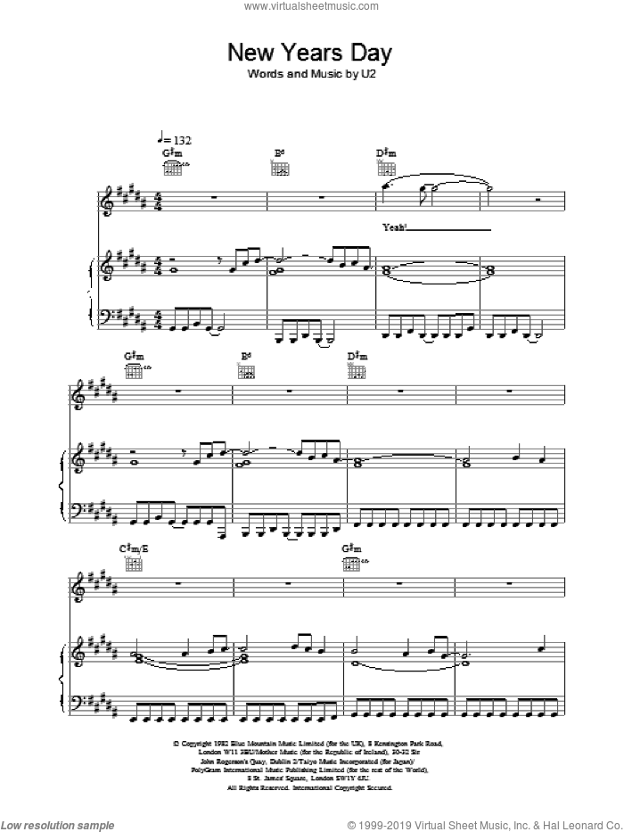New Years Day sheet music for voice, piano or guitar by U2. Score Image Preview.