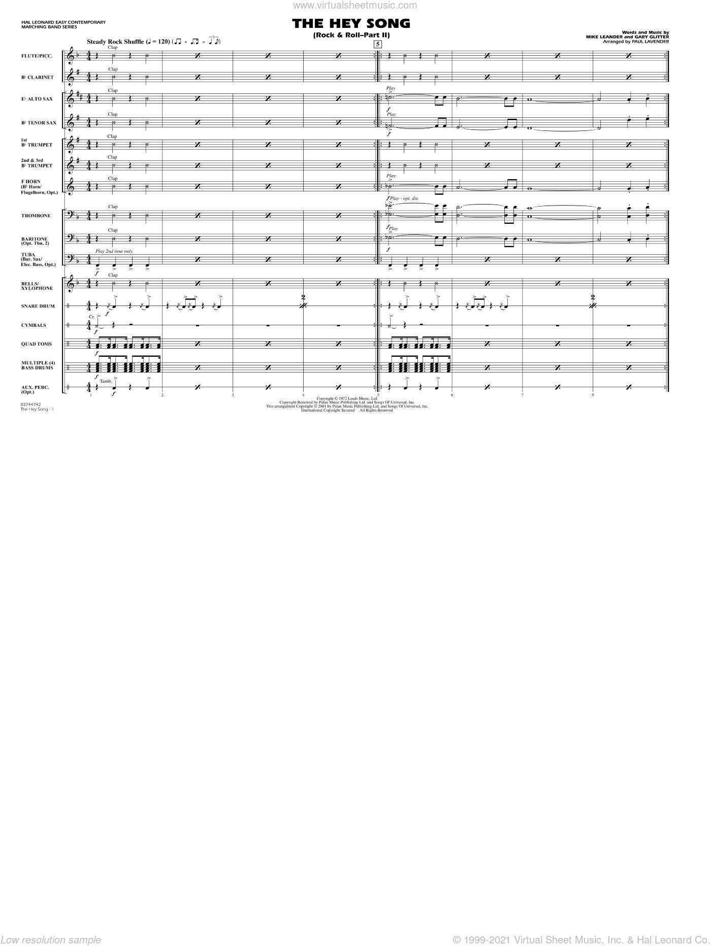 Rock and Roll, part ii (the hey song) sheet music for marching band (full score) by Paul Lavender, Mike Leander and Gary Glitter, intermediate skill level