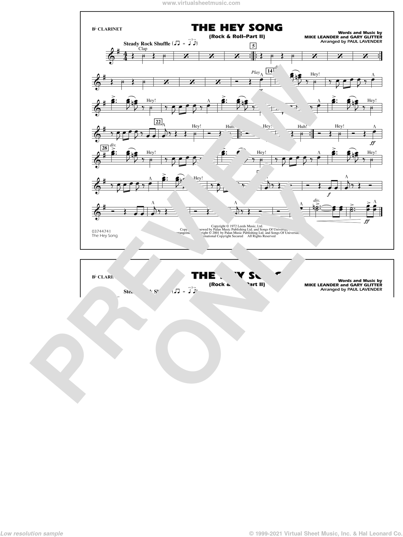 Rock and Roll, part ii (the hey song) sheet music for marching band (Bb clarinet) by Paul Lavender, Mike Leander and Gary Glitter, intermediate skill level