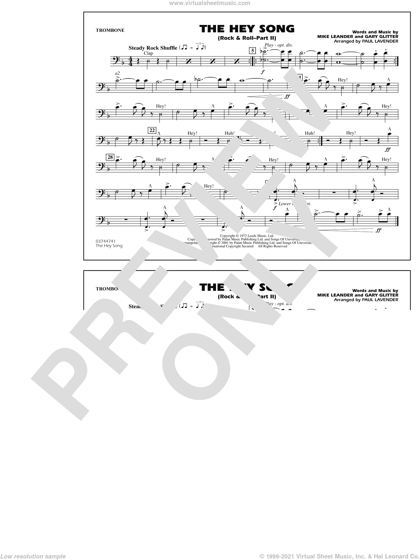 Rock and Roll, part ii (the hey song) sheet music for marching band (trombone) by Paul Lavender, Mike Leander and Gary Glitter, intermediate skill level